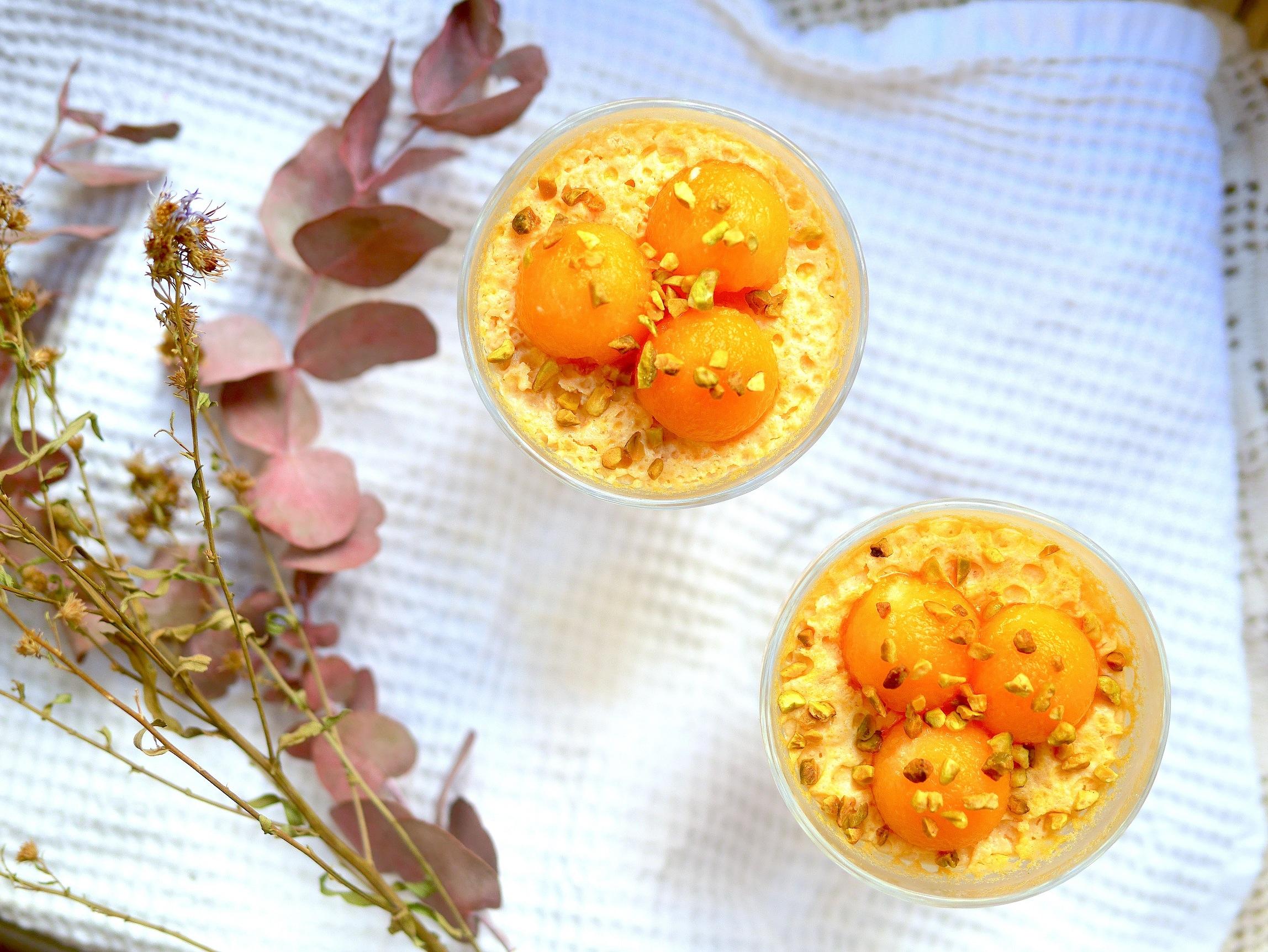 Mousse de melon au miel et aux pistaches sans gluten et sans lactose pour un dessert sain et gourmand !